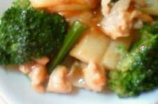 ブロッコリーと長芋と豚肉の中華炒め