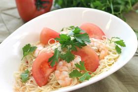 エビとトマトの冷たいカッペリーニ