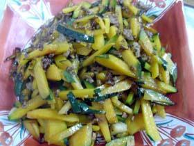 カボチャと挽肉の炒め物