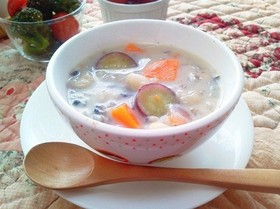 さつまいもと白いんげん豆のスープ