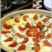 ほうれん草とトマトチーズの洋風卵とじ