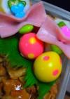 キャラ弁に♪水玉鶉の卵リボン付き
