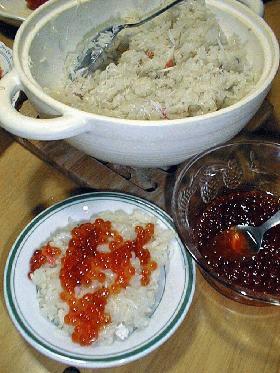 土鍋でカニ飯&自家製いくら