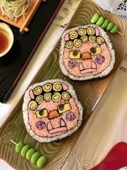 節分飾り巻き寿司・恵方巻き・鬼の写真