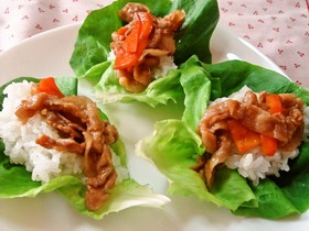サラダ菜の手巻き焼き肉