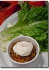 野菜肉味噌ディップ、ポーチドエッグ添え