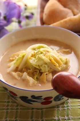 あったか★白菜のごま豆乳スープ