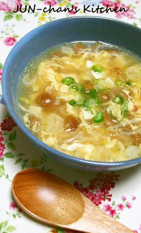 なめこと豆腐のピリ辛スープ