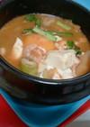 パスタスープを使った純豆腐(スンドゥブ)