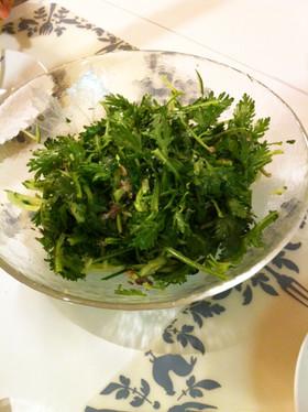 ワインのおつまみになる春菊とサバ缶サラダ