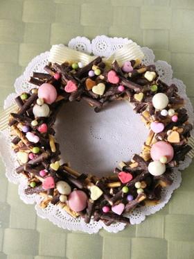 簡単ポッキーデコチョコバレンタインリース