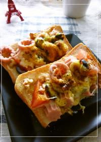 魚ニソ×トマ×オリーブの和カレートースト