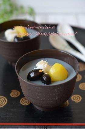 煮汁活用☆黒豆&豆乳のぷるぷるプリン♫