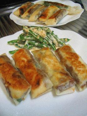 肉味噌&チーズの春巻き焼き★