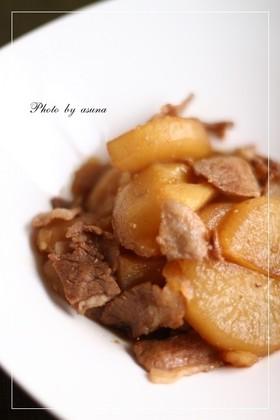 焼肉風味!?大根と豚肉&じゃがいもの煮物