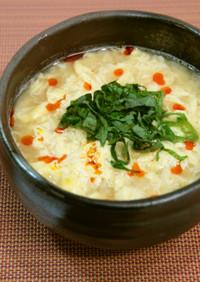 花咲き卵の豆乳味噌スープご飯