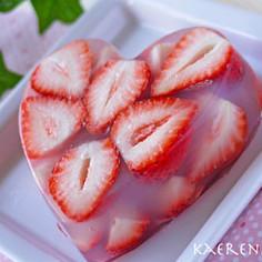 バレンタインに!ごろごろ苺の寒天ゼリー!