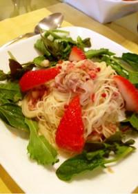 イチゴとツナの冷製パスタ☆ひな祭り誕生日