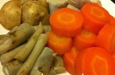 圧力鍋で蒸し野菜。