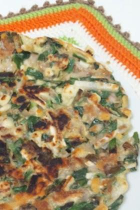 長芋とニラと豚バラ肉のカリッと簡単チヂミ
