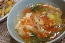 トマトレタス卵の塩中華スープ。