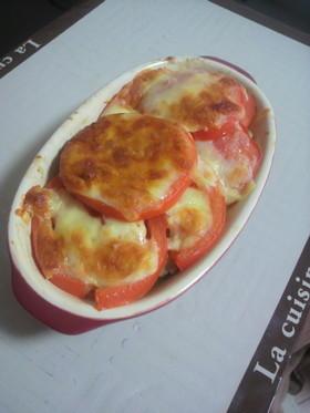 トマト鶏ももえのきの重ね焼き