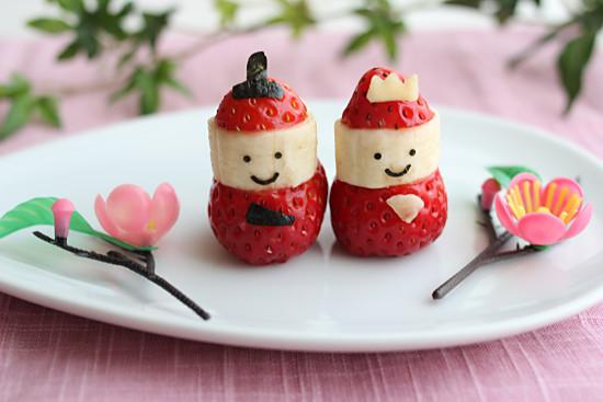 おひなまつりに♪イチゴとバナナで雛人形