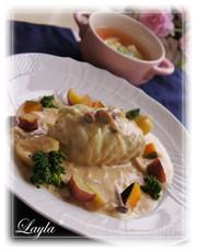 ロールキャベツ きのこクリームソースの写真