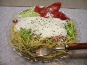 クリームスパゲティ☆キャベツとウィンナーソーセージ