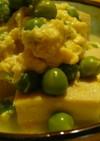 高野豆腐とえんどう豆の玉子とじ