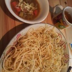 5種の野菜のカレースープつけパスタ