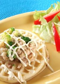朝食は檸檬パセリde鮭缶ポテトワッフル