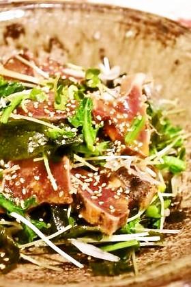 鰹のタタキと菜の花のサラダ