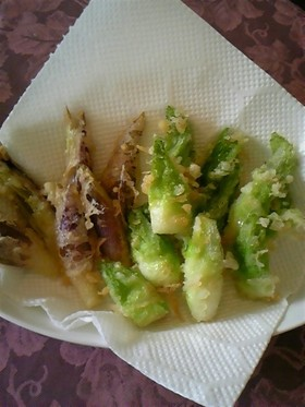 つぼみ菜の天ぷら