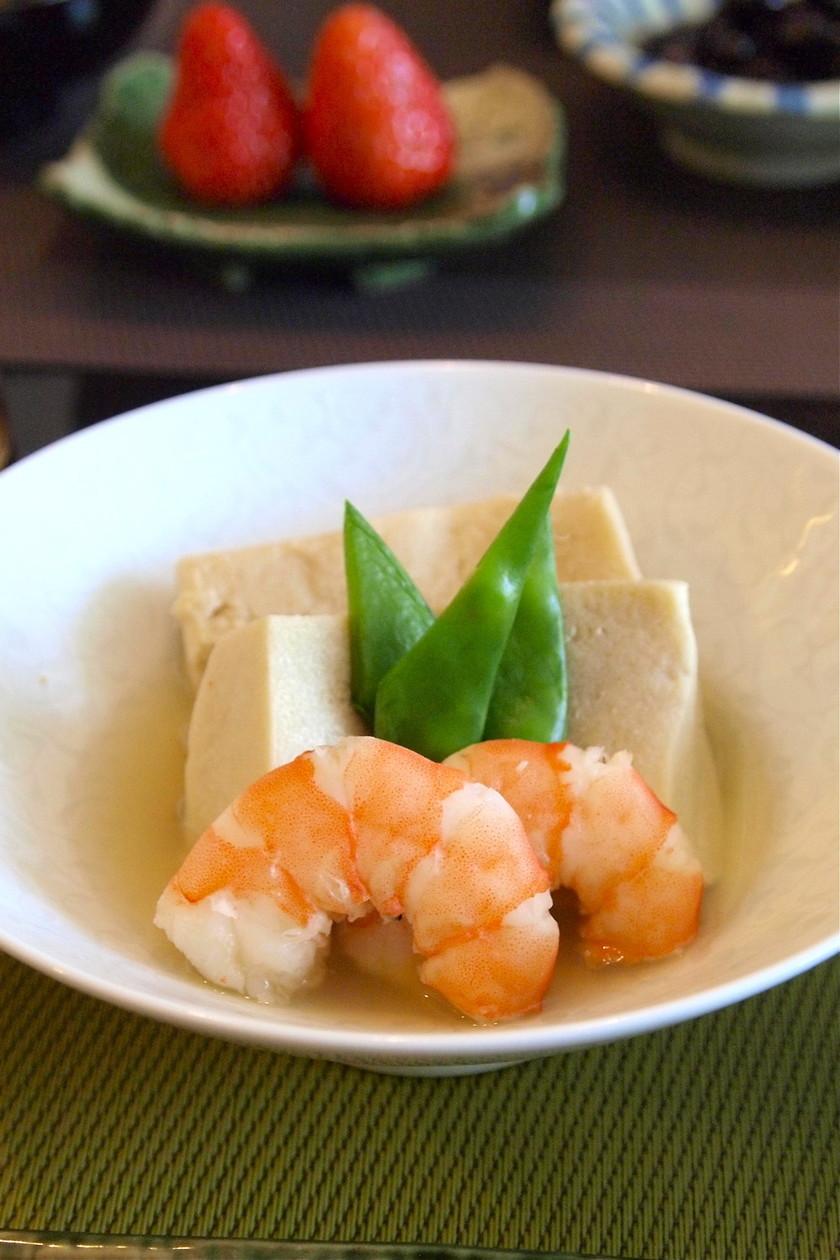 高野豆腐の煮物♪海老と春野菜を添えて