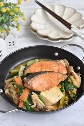 こくうま〜♪野菜たっぷり鮭の味噌焼き