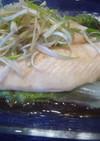蒸し魚の白髪ねぎのせ