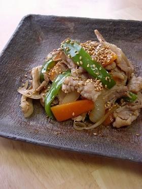 豚肉のゴマ生姜炒め。