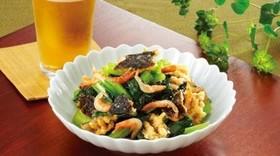 のり天と小松菜の甘辛炒め