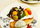 秋鮭ソテー ヘルシーソース温野菜添え
