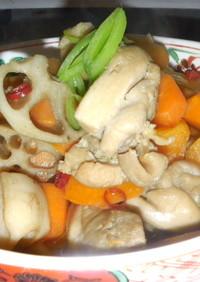煮物 鶏と蓮根ピリ辛風