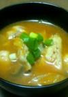 鱈とキムチのチゲ風味噌汁
