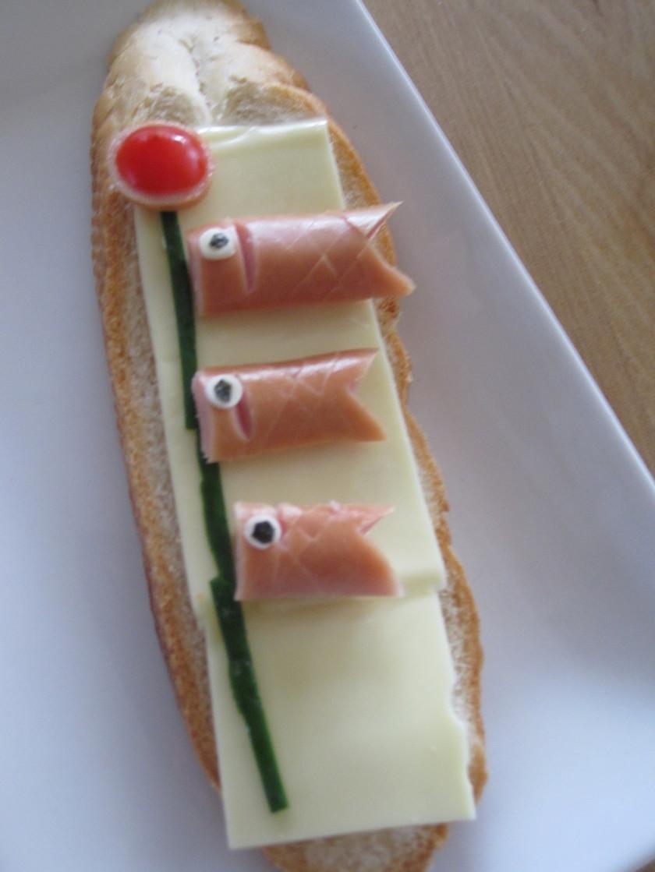 子供の日の朝食に鯉のぼりトースト♪