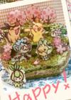 キャラデコ抹茶ケーキ*ポケモン春桜祭