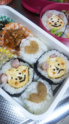 キャラ弁*プーさん巻き寿司♪+゜