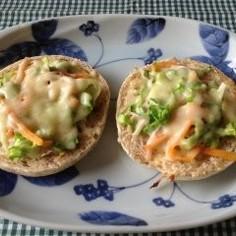 野菜チーズオープンサンド