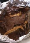 牛肉とエリンギとオニオンの朴葉味噌焼き