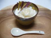 バニラアイスの塩麹がけ さつま芋添えの写真