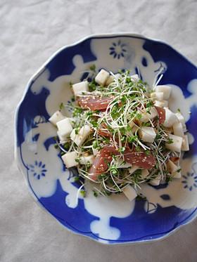 マグロ長芋松の実サラダ