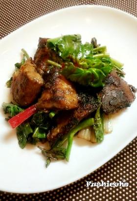 鯖とからし菜のバルサミコ炒め